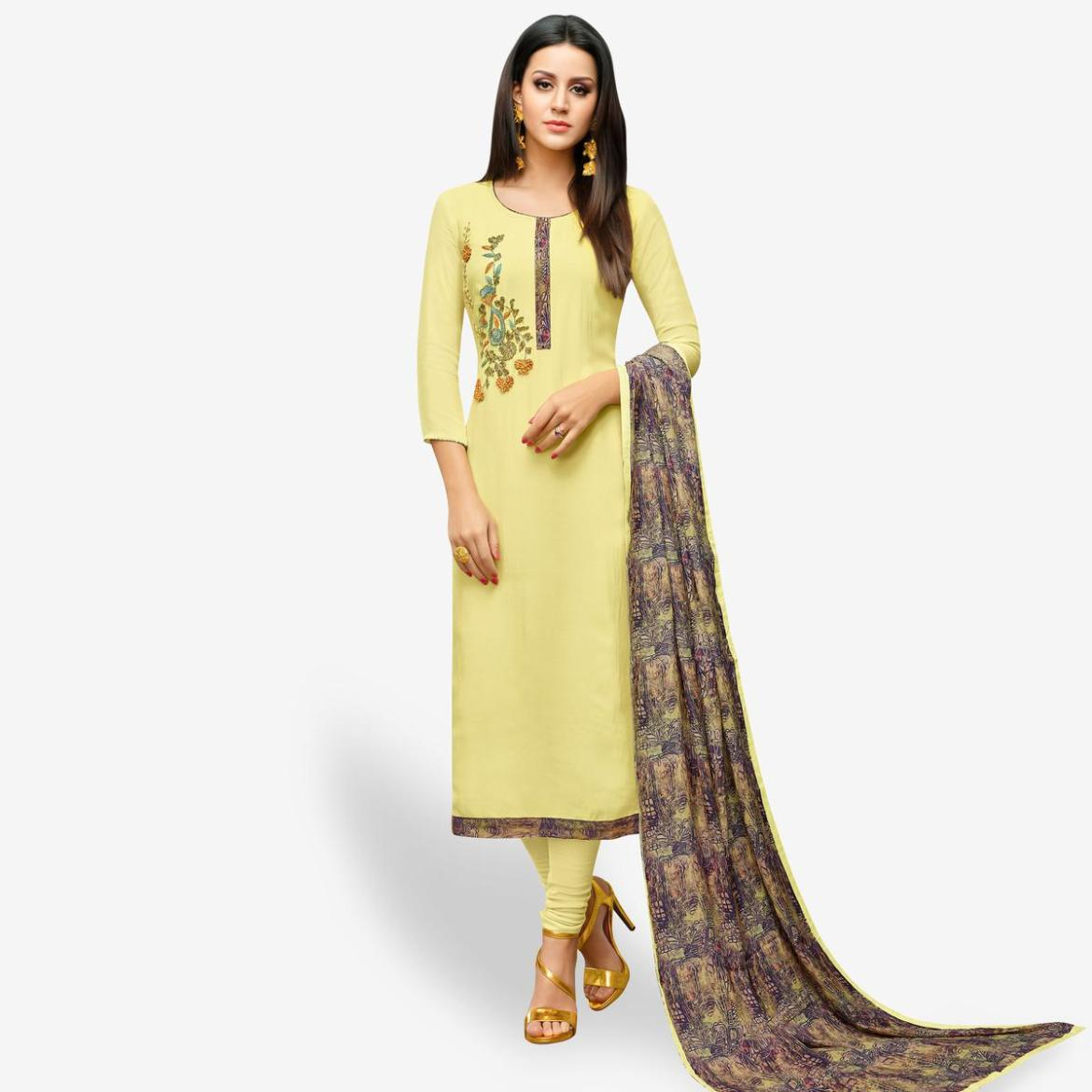 Innovative Lemon Yellow Colored Party Wear Cotton Silk Salwar Suit