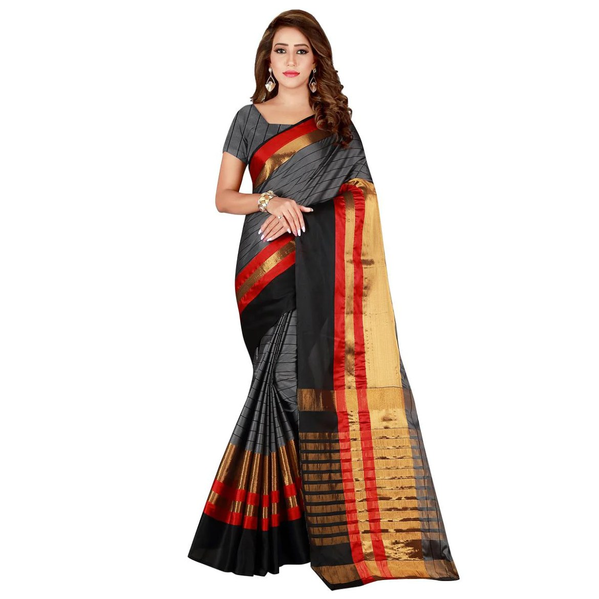 Engrossing Gray Colored Casual Wear Cotton Saree