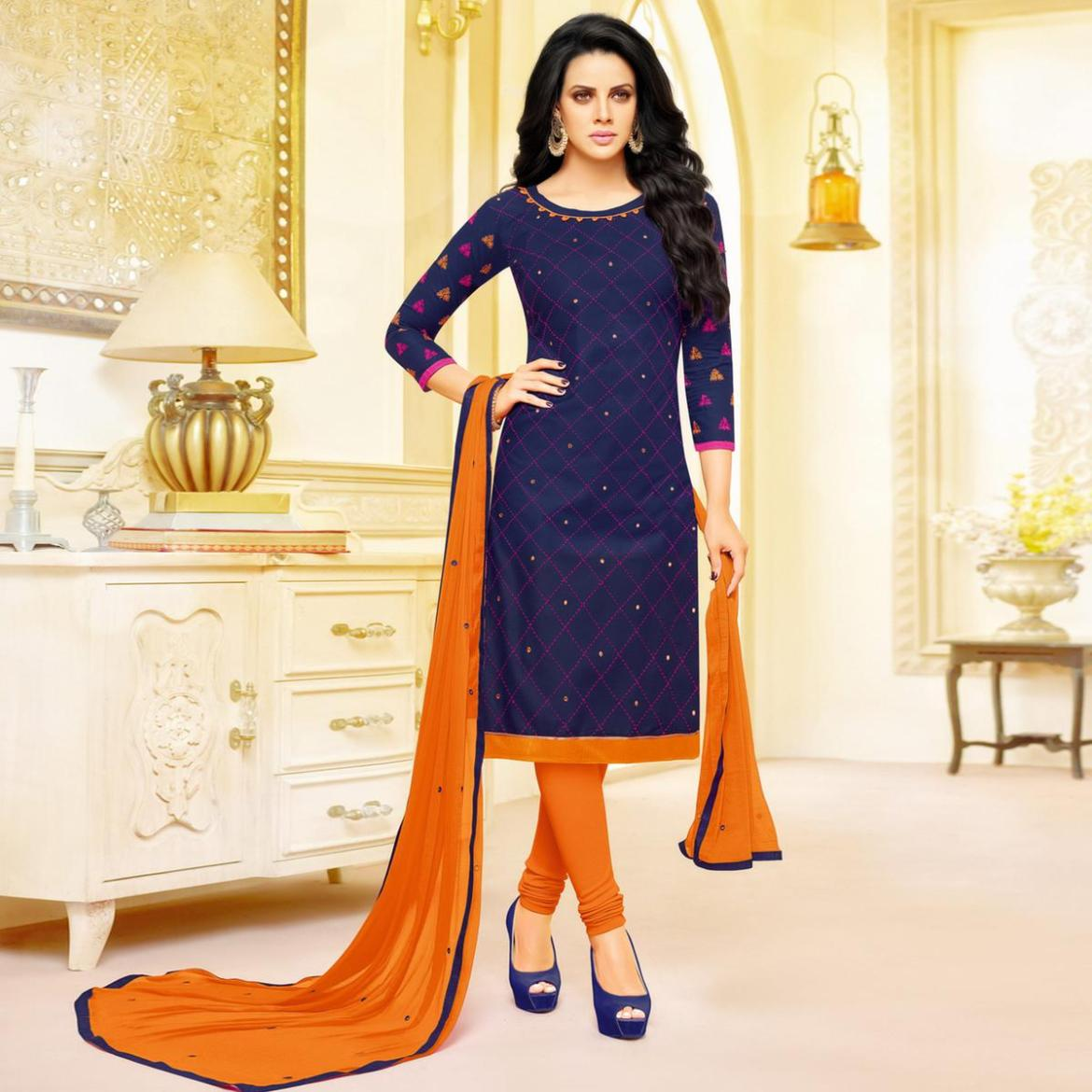 Innovative Navy Blue Colored Partywear Embroidered Cotton Dress Material