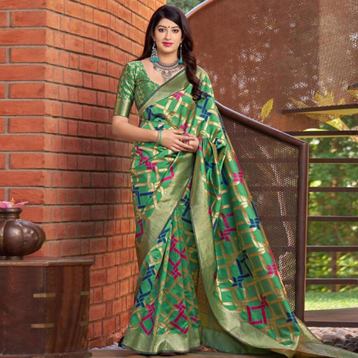 Excellent Green Colored Festive Wear Woven Banarasi Silk Saree