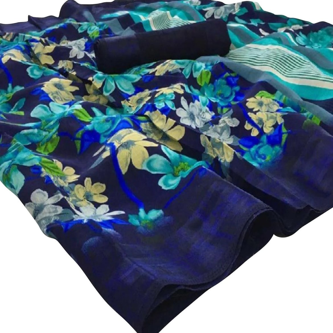 Exceptional Blue Colored Casual Floral Printed Linen Saree