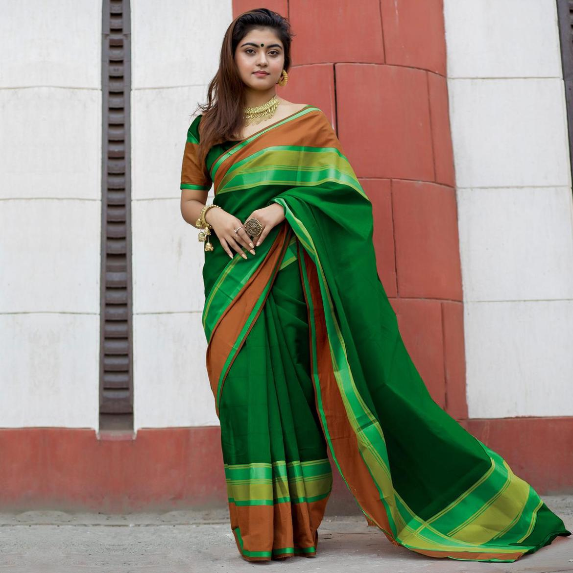Elegant Green Colored Party Wear Designer Printed Cotton Silk Saree