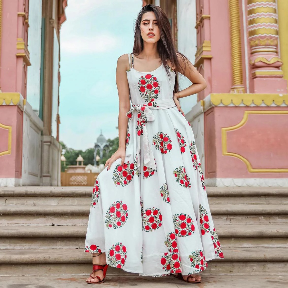 Innovative White Colored Party Wear Digital Floral Printed Cotton Gown With Matching Mask