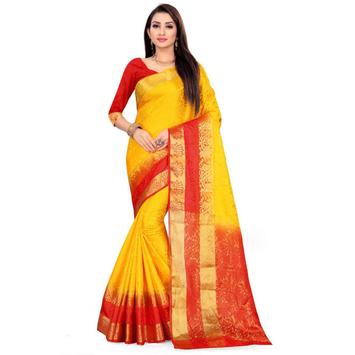 Energetic Yellow-Red Colored Festive Wear Woven Nylon Saree