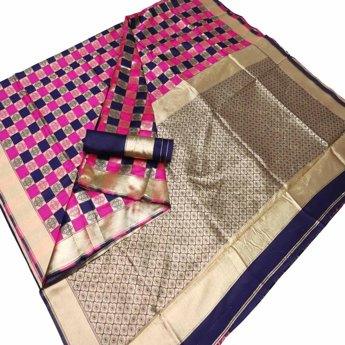 Energetic Pink-Blue Colored Festive Wear Checks Woven Kota Silk Saree