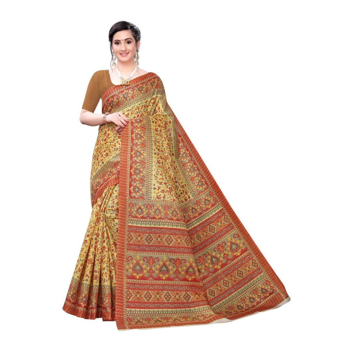 Desirable Mustard Yellow Colored Casual Wear Printed Cotton Saree