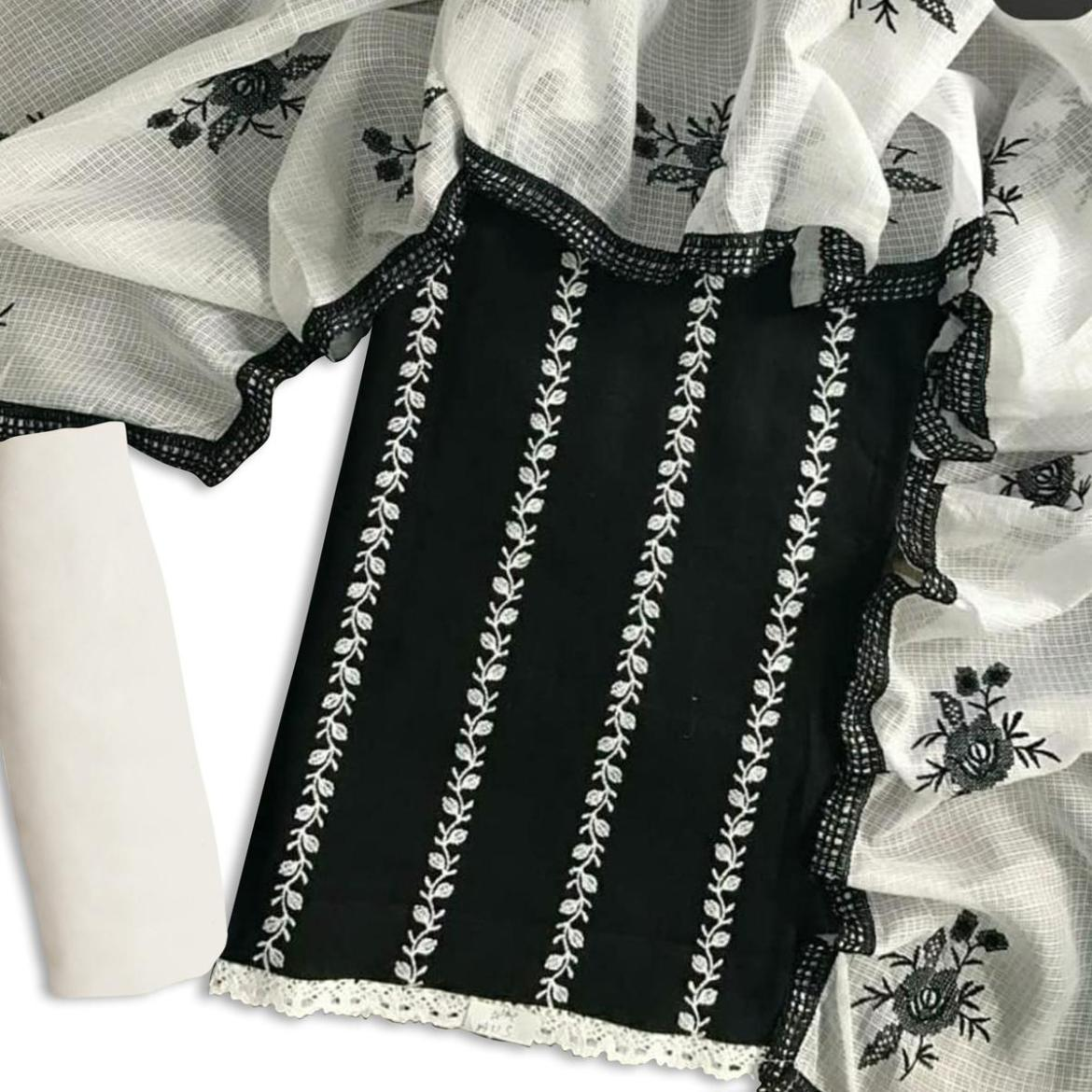 Intricate Black Colored Casual Wear Embroidered Cotton Dress Material
