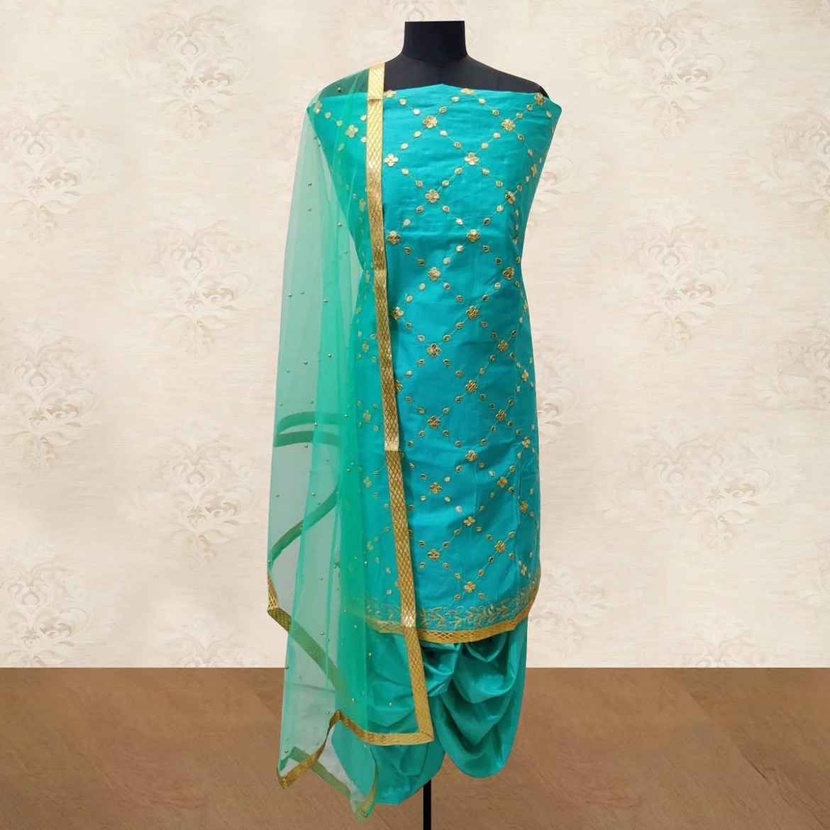 IRIS - Aqua Blue Colored Party Wear Gotapatti Embroidered Cotton Patiyala Style Dress Material