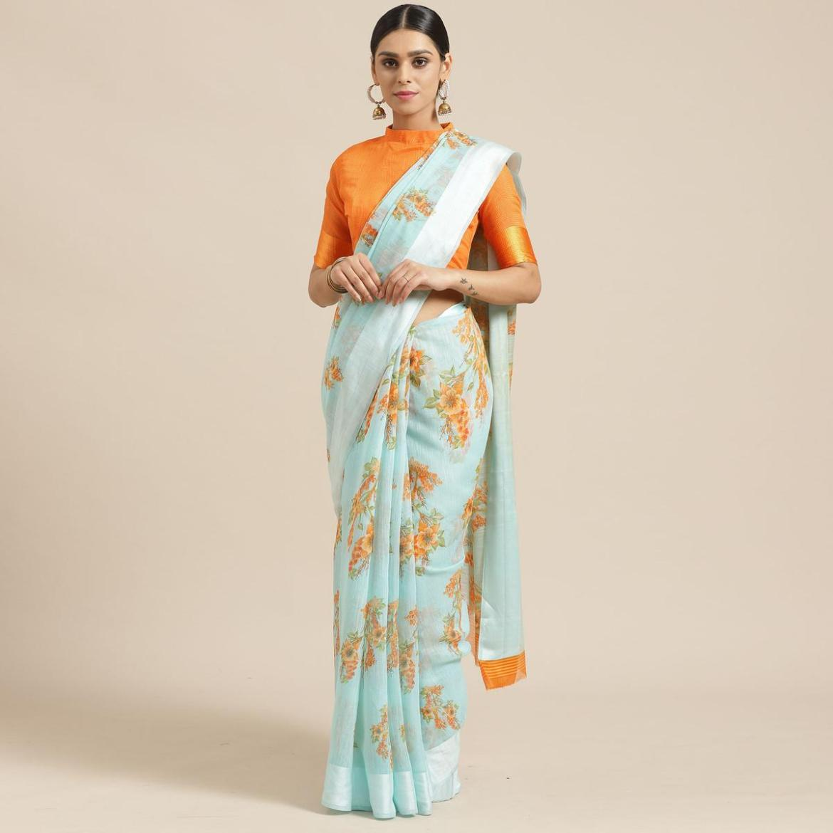 Engrossing Sea Green Colored Casual Wear Printed Cotton Blend Saree