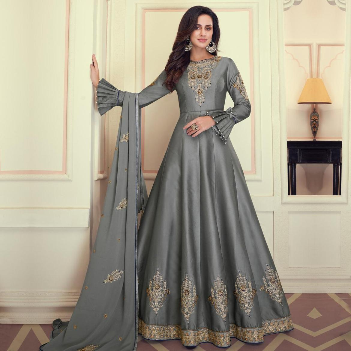 Intricate Grey Colored Party Wear Embroidered Heavy Muslin Cotton Silk Anarkali Suit