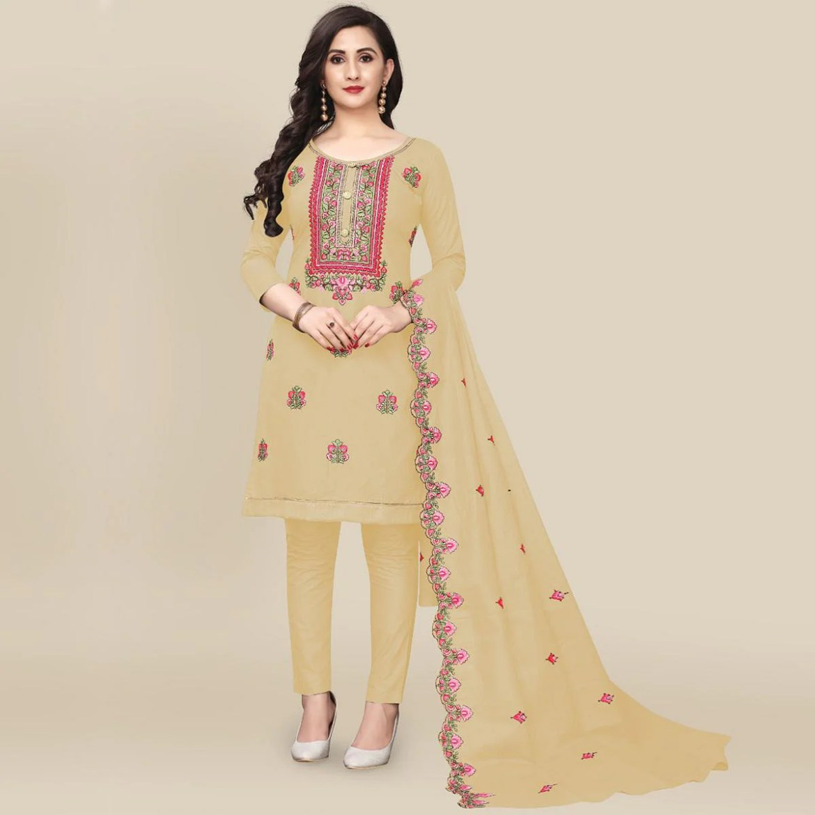 IRIS - Cream Colored Partywear Embroidered Work Cotton Dress Material