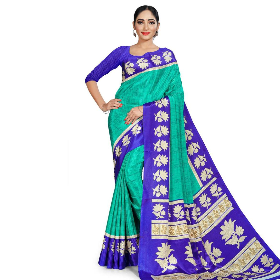 Excellent Turquoise Green Colored Casual Wear Printed Crepe Saree