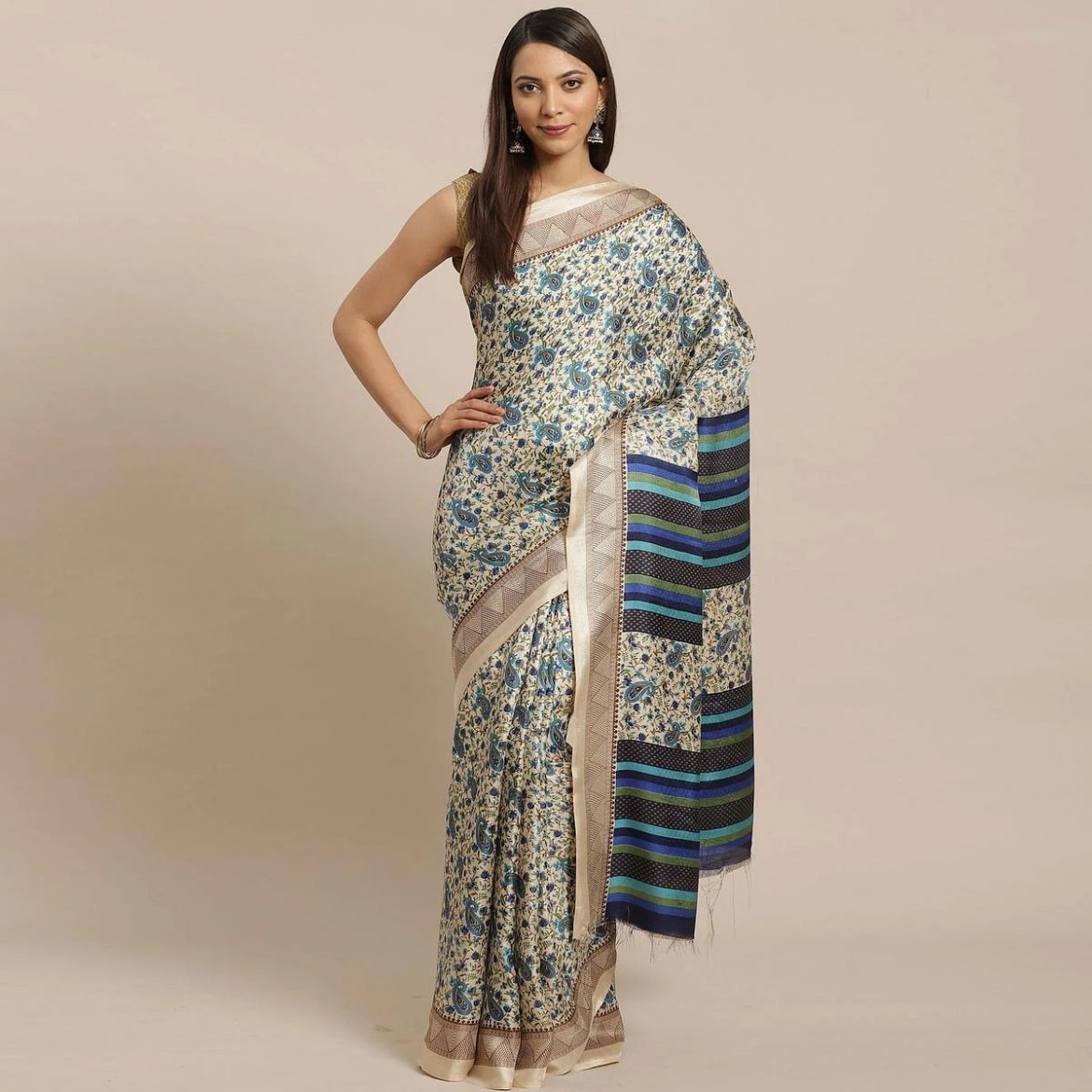 Engrossing Beige - Blue Colored Casual Wear Printed Silk blend Saree