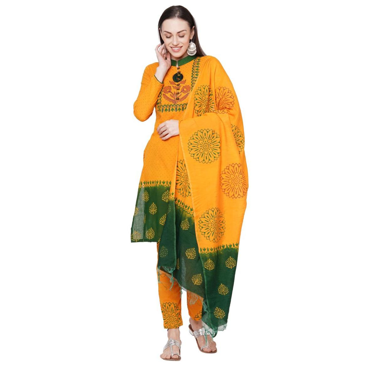 Iris - Mustard Yellow Colored Casual Block Printed Cotton Dress Material
