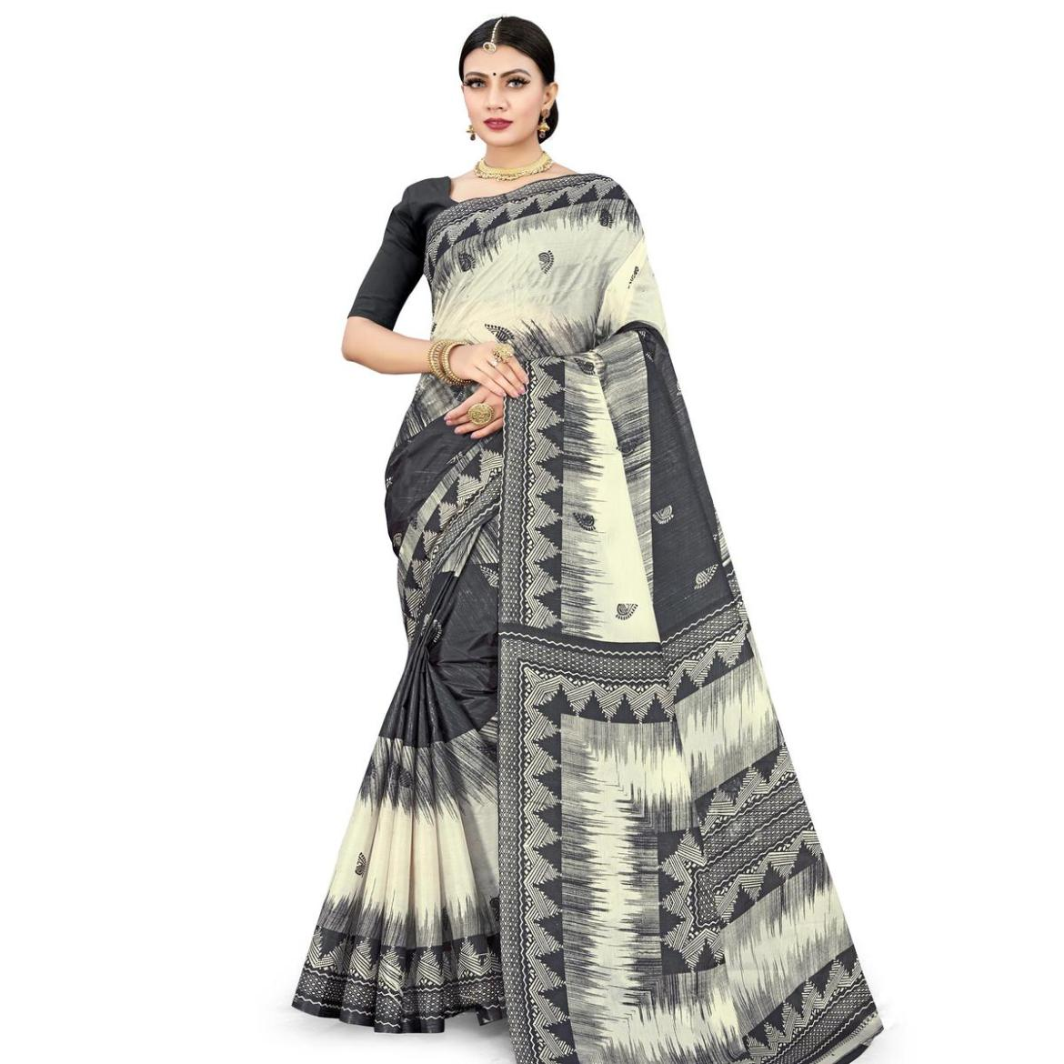 Elegant Black Colored Casual Wear Printed Cotton Silk Saree