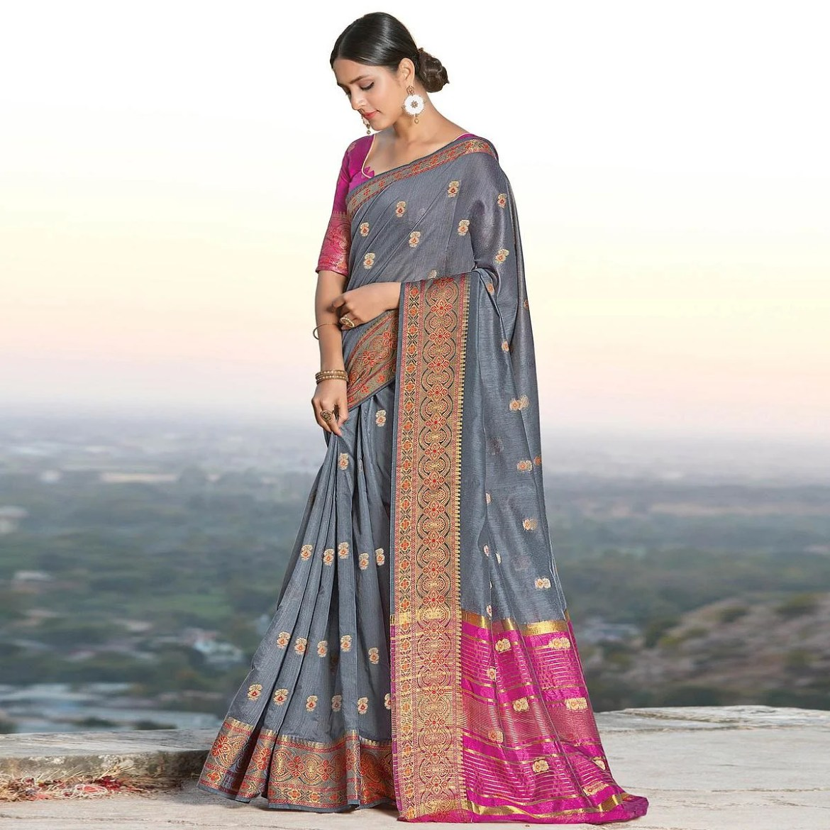 Exclusive Grey Colored Festive Wear Woven Cotton Handloom Saree