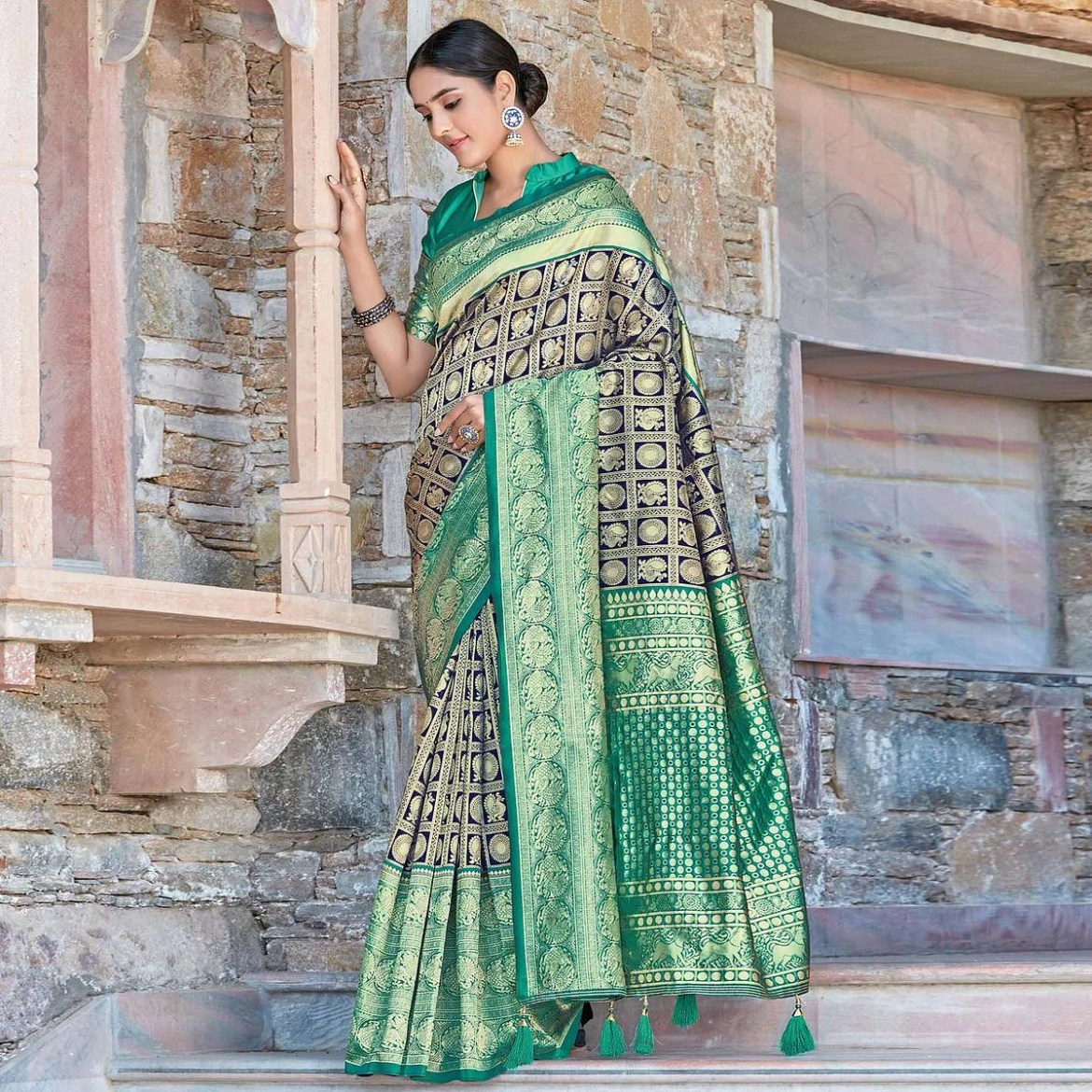 Exceptional Navy Blue Colored Festive Wear Woven Silk Sareee