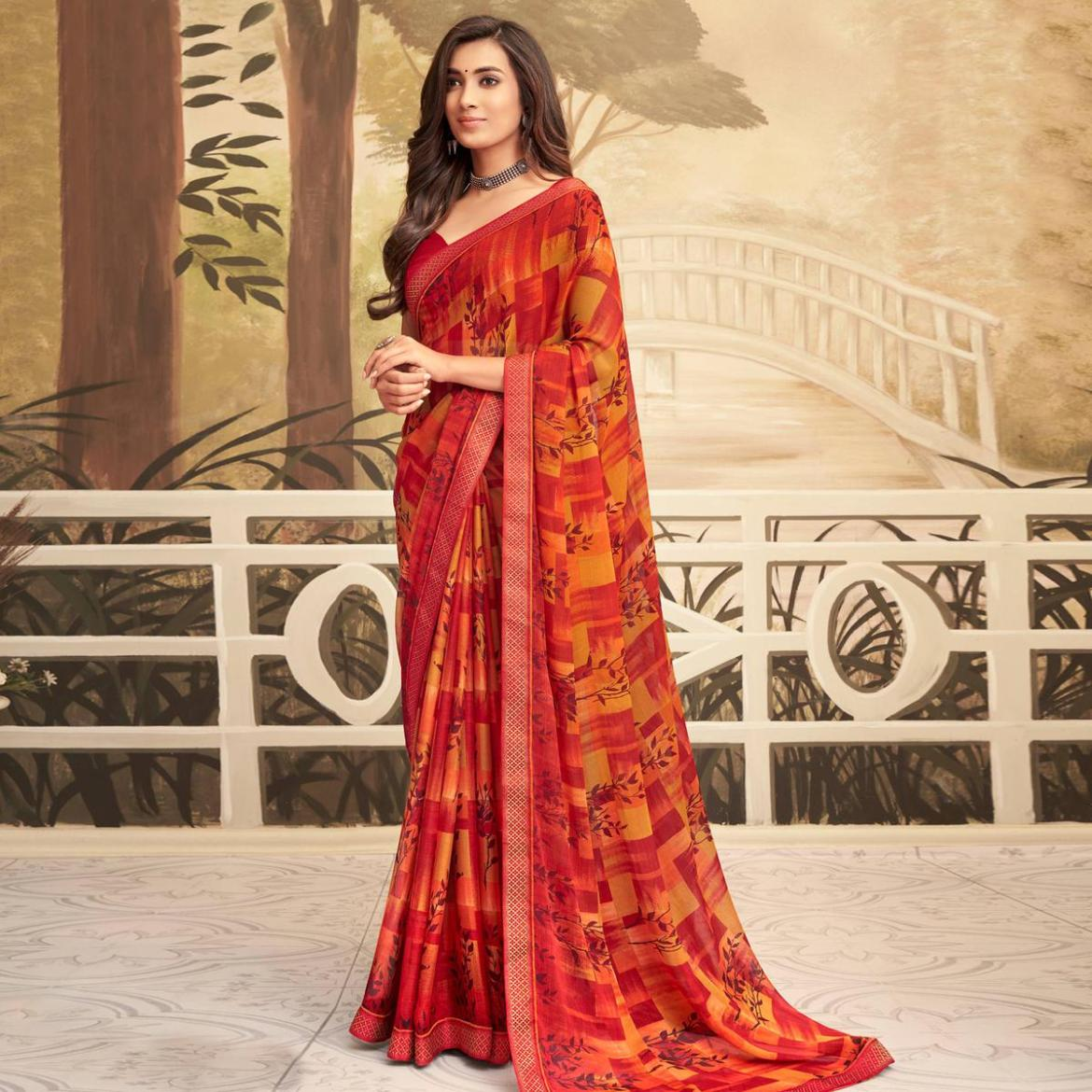 Excellent Red Coloured Casual Wear Printed Chiffon Saree
