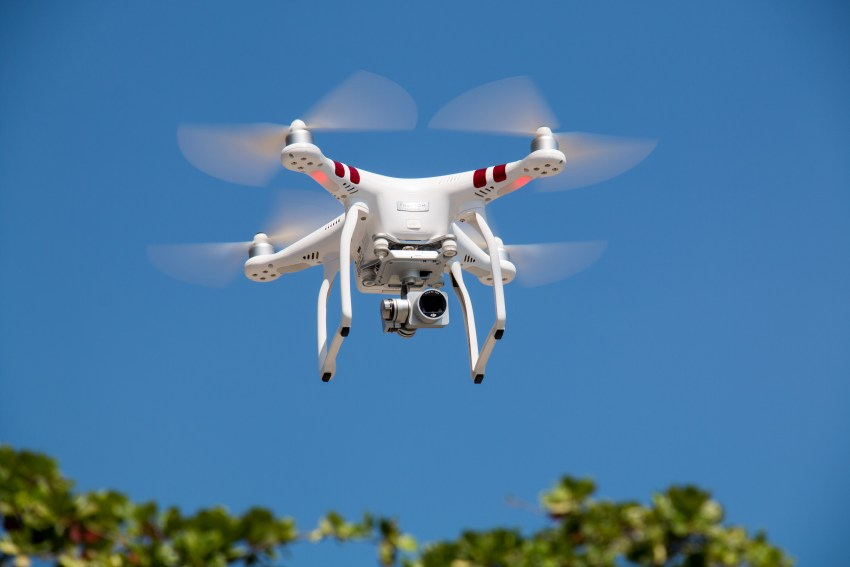 A DJI Phantom in flight.