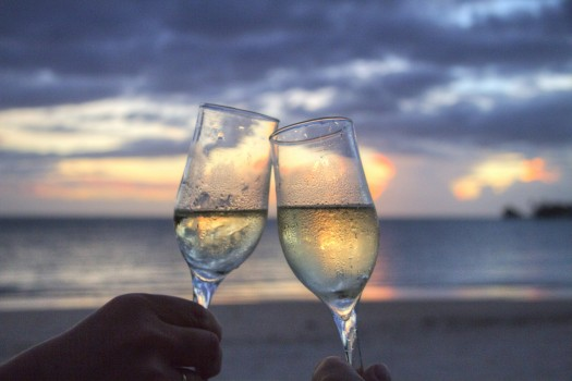Beach, Champagne, Cheers, Clink Glasses