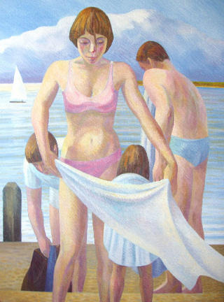 Family Group Bathing by John Reay