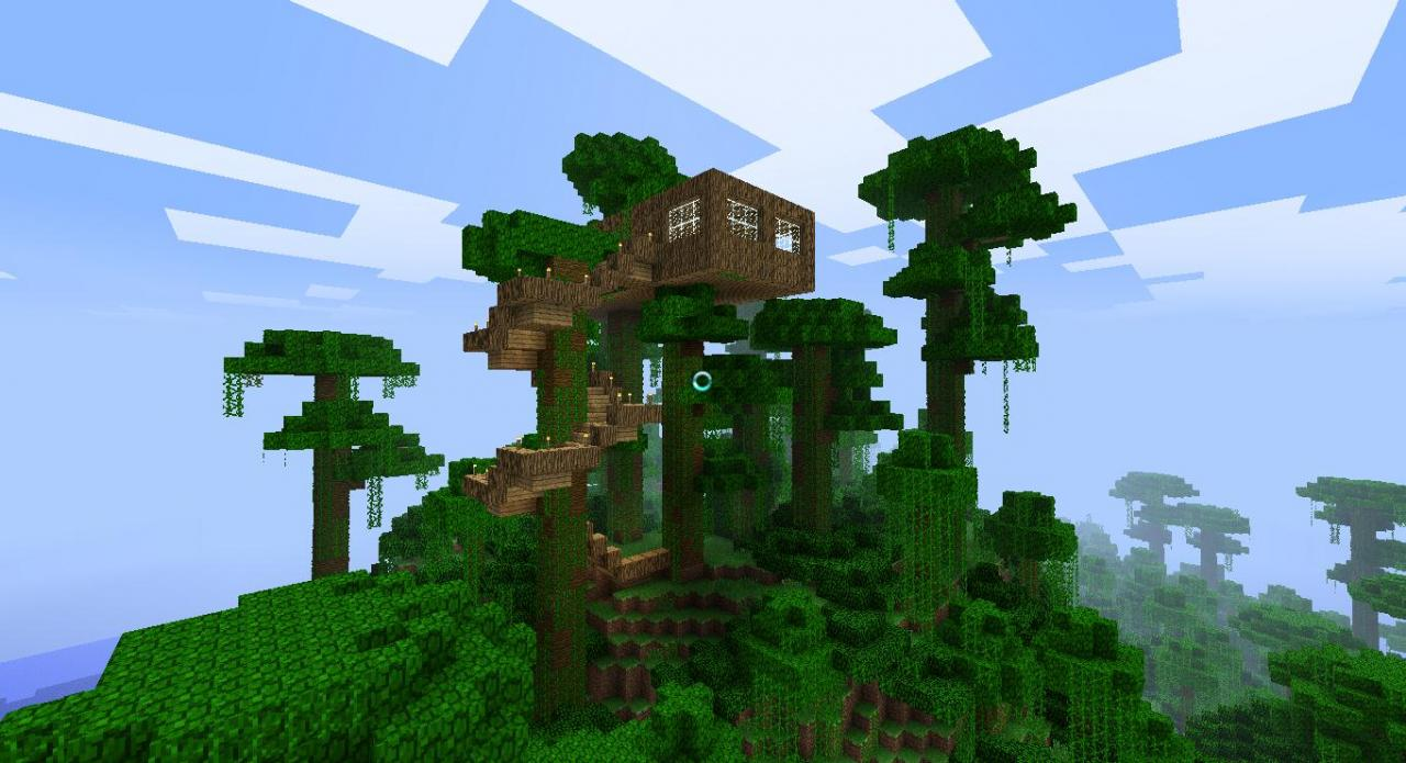 Simple Tree House Jungle Biome Minecraft Project