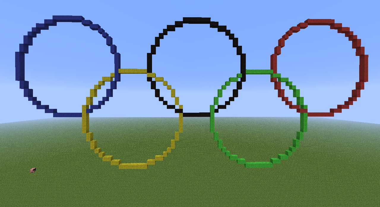 Olympic Rings Minecraft Style Includes Fireworks
