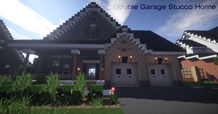 Double Garage Stucco Home Mine County Houses Minecraft Project