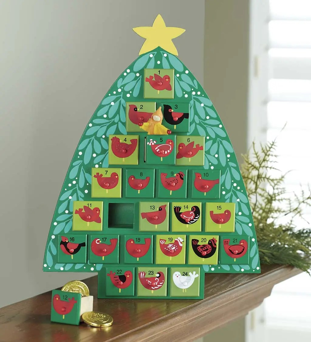 Wooden Advent Calendar Christmas Tree With Painted Birds