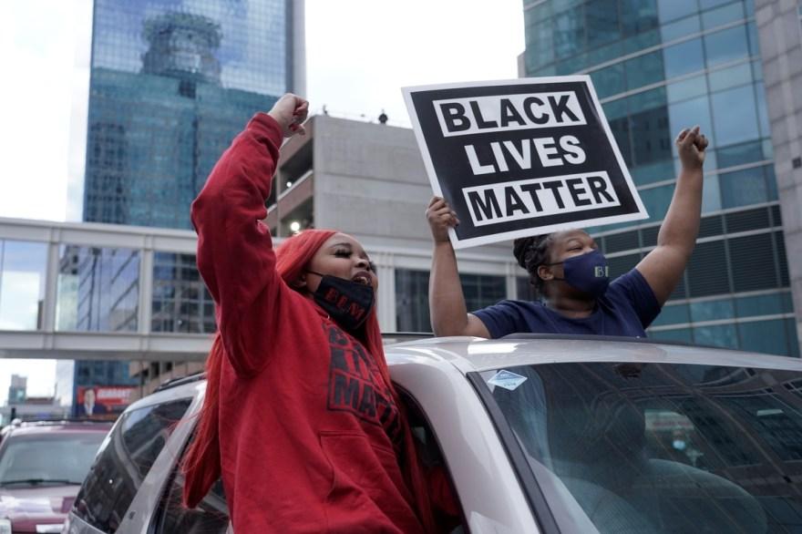 Black Lives Matter displayed