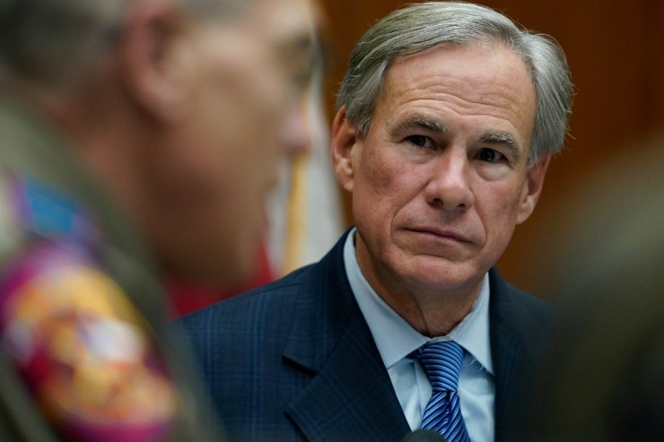 Texas Gov. Greg Abbott takes part in a roundtable discussion.