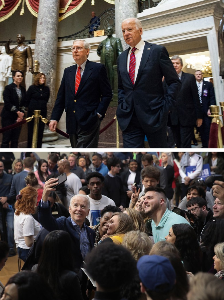 Top: Vice President Joe Biden walks with Senate Majority Leader Mitch McConnell through Statuary Hall on their way to a joint session of Congress to count votes in 2017. Bottom: Former Vice President Biden takes selfies with supporters during a campaign rally in 2020.