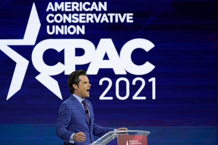 Rep. Matt Gaetz speaks at the Conservative Political Action Conference (CPAC) Friday, Feb. 26, 2021, in Orlando, Fla.