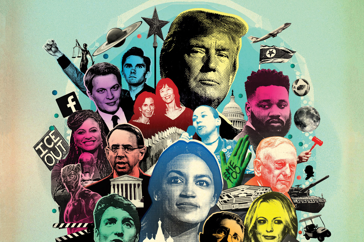 A mishmash of different faces and iconography relevant to the last year of news, including Donald Trump, Alexandria Ocasio-Cortez, Ryan Googler, Emma González, Stormy Daniels and Ronan Farrow.