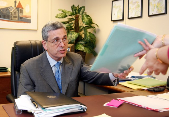 Michigan Republican Party Chairman Ron Weiser is shown in his office.