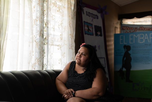 Vanessa Siliezar, a women's rights attorney and teacher, sits in the La Ceiba offices of UDIMUF, a Honduran organization she founded 13 years ago that works to protect the rights of women and girls.