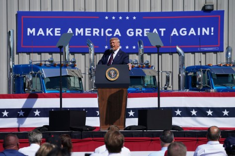 President Donald Trump speaks during a campaign rally at Mariotti Building Products, Thursday, Aug. 20, 2020, in Old Forge, Pa. | AP Photo/John Minchillo