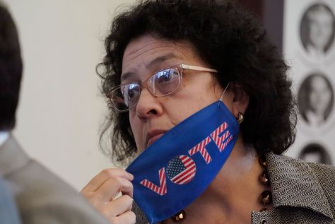 Texas State Rep. Celia Israel, a Democrat, listens to fellow lawmakers at the Texas Capitol in Austin, Texas, May, 2021.