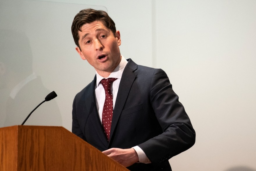 Minneapolis Mayor Jacob Frey speaks at a press conference.