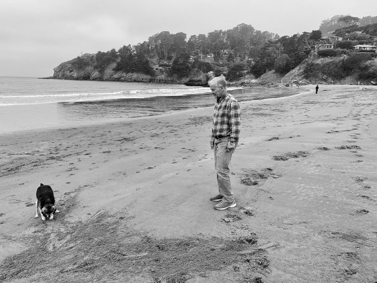 a black and white photo of a man and his dog on a beach