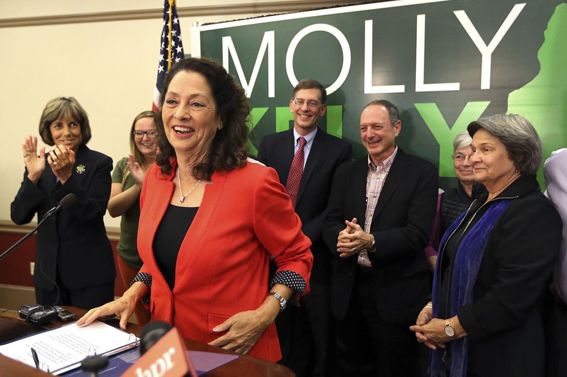 Molly Kelly celebrates her primary victory