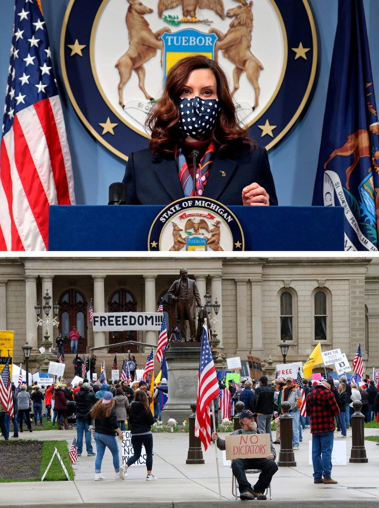 Hoisting American flags and handmade signs, protesters (below) rally at the state Capitol in Lansing, Mich., on April 30, 2020 to denounce Gov. Gretchen Whitmer's (above) stay-home order and business restrictions due to Covid-19.