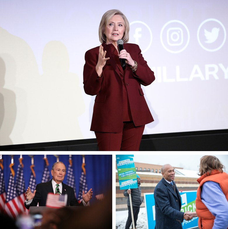 """Top: Hillary Clinton speaks onstage during Hulu's """"Hillary"""" NYC Premiere on March 04, 2020 in New York City. (Photo by Monica Schipper/Getty Images for Hulu) Bottom left: Former Democratic presidential candidate Mike Bloomberg addresses his staff and the media after announcing that he will be ending his campaign on March 04, 2020 in New York City. (Photo by Spencer Platt/Getty Images) Bottom right: Democratic presidential candidate former Massachusetts Governor Deval Patrick greets voters at the Broken Ground School during the presidential primary on February 11, 2020 in Concord, New Hampshire. (Photo by Scott Eisen/Getty Images)"""