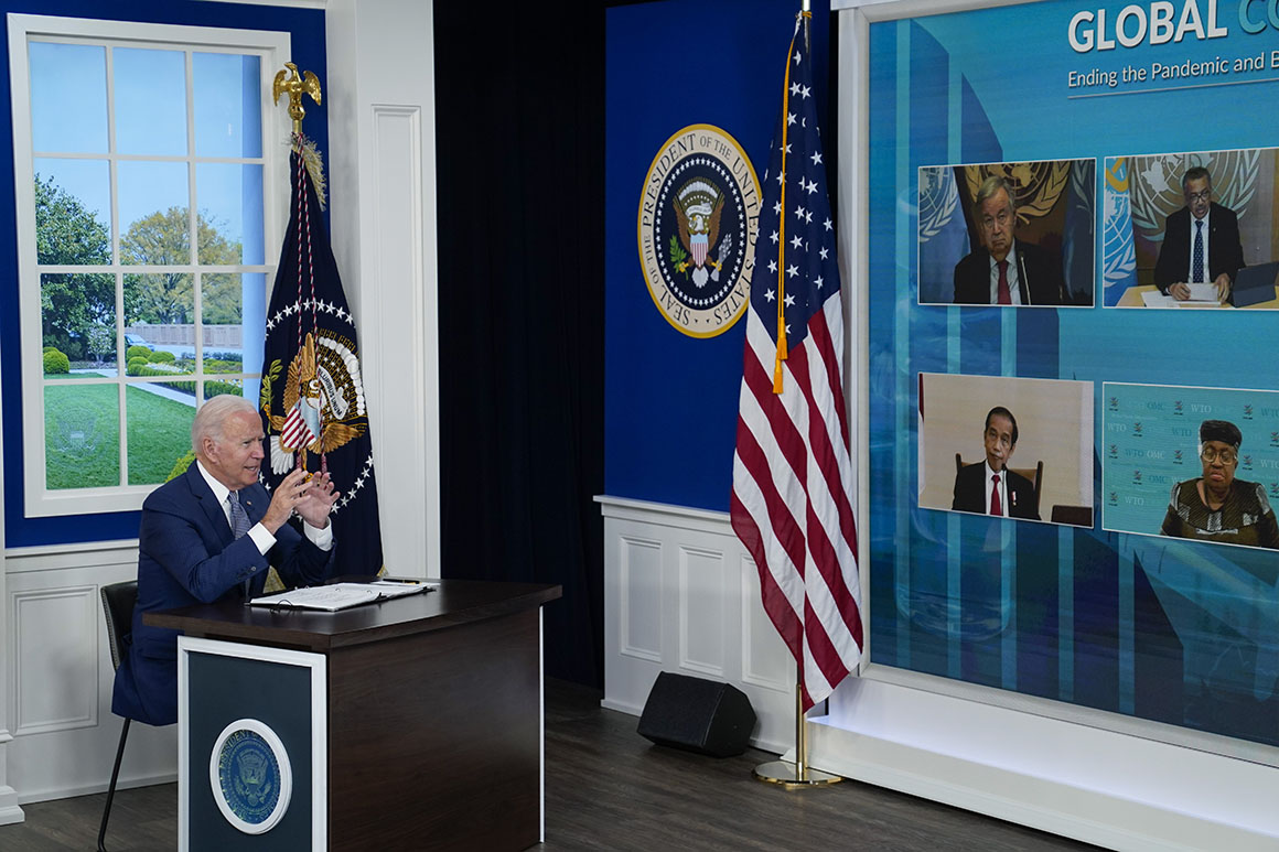 President Joe Biden speaks during a virtual Covid-19 summit in the South Court Auditorium on the White House campus.