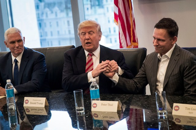 Donald Trump shakes the hand of Peter Thiel.