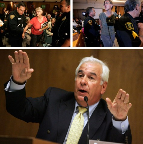 Top: Officers escort two women out of a school board meeting. Bottom: The superintendent speaks.