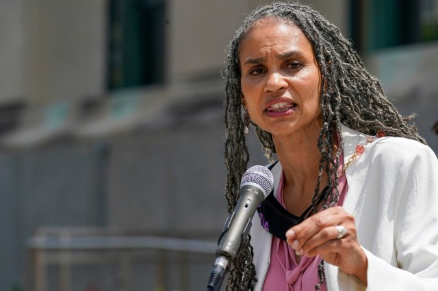 New York City mayoral candidate Maya Wiley speaks to reporters during a news conference.