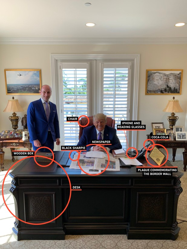 President Trump sits at his desk in his Mar-a-Lago office, surrounded by notable items.  Items on your desk, like your phone and glasses, are circled.