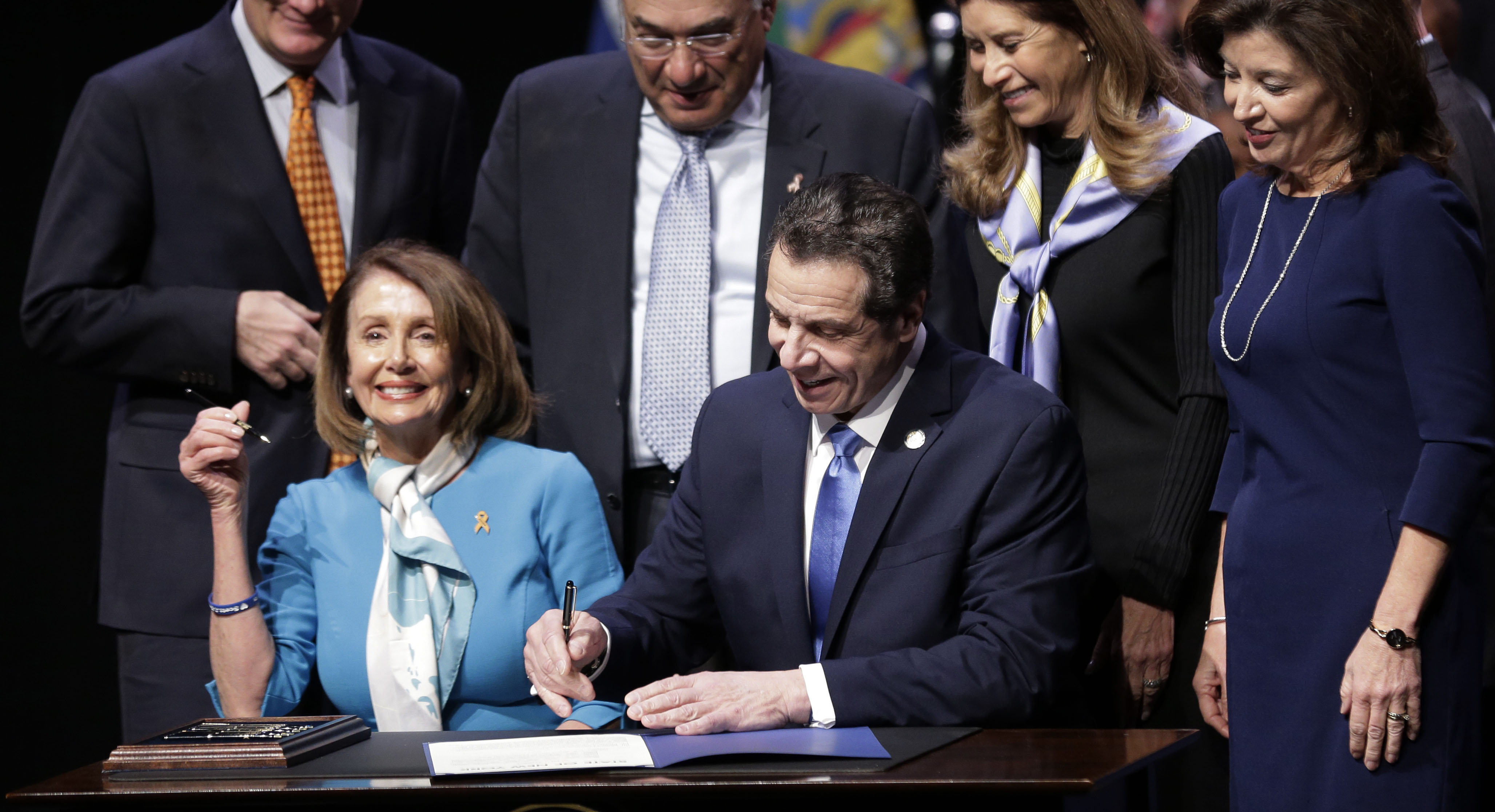 Cuomo Signs Red Flag Gun Control Bill Flanked By Pelosi