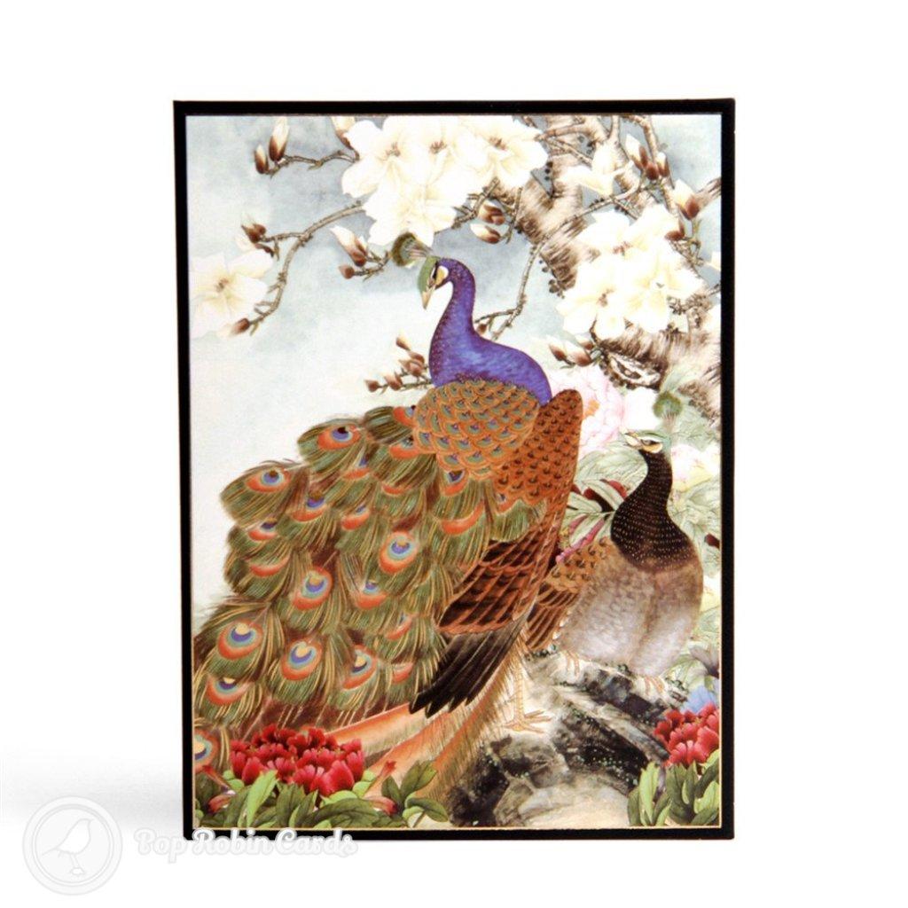 Embossed Peacock Handmade 3D Pop Up Card Pop Robin Cards